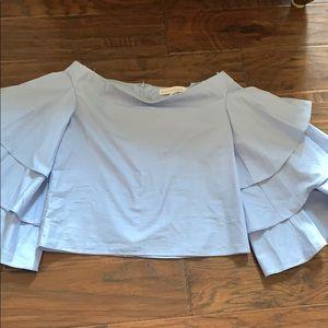 Endless Rose blue Ruffled sleeve blouse XS